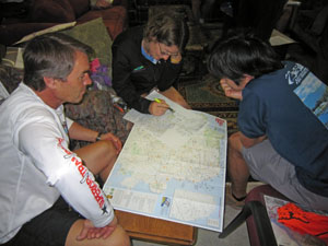 Ultrarunners planning their route